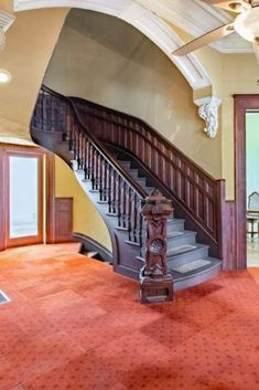 1877 Victorian In Peoria Illinois — Captivating Houses Stairs Window, House Stairs, Grand Staircase, Staircase Design, Dream Home Design, House Design, Peoria Illinois, Victorian Homes, Victorian Interiors