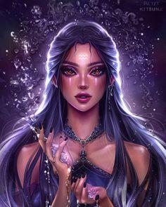Aquarius Art, Aquarius Tattoo, Aquarius Woman, Zodiac Signs Aquarius, Zodiac Art, Aquarius Aesthetic, Aesthetic Art, Zodiac Characters, Fantasy Characters