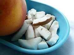 Fresh coconut with peaches.  To die for!!!!!!