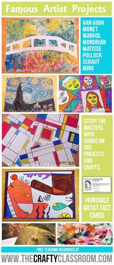Famous Artist Projects for Kids: http://thecraftyclassroom.com?utm_content=buffer6ce9d&utm_medium=social&utm_source=pinterest.com&utm_campaign=buffer