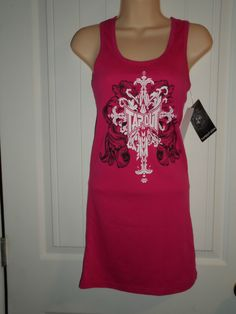 Tapout Tank Dress Hot Pink Size Junior Medium NWT. Comfortable tank dresses with a racer back for casual wear.  Perfect for everything from a swimsuit coverup, out for shopping, eating out, even some clubs! at www.bonanza.com/Oma_sPlatz