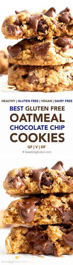 Best Gluten Free Oatmeal Chocolate Chip Cookies Recipe (GF, Vegan, Dairy-Free) - Beaming Baker - Gluten Free Recipies - Healt and fitness Dairy Free Snacks, Gluten Free Sweets, Gluten Free Cookies, Gluten Free Baking, Vegan Snacks, Dairy Free Recipes, Healthy Snacks, Tasty Cookies, Chocolate Chip Cookies Rezept