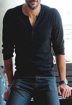 Men's Fashion: Black Long-sleeved Henley, Navy Pants.