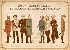 """rinuchan90: """" Military uniforms from WW1. Left - Central Powers. Right - Triple Entente. """""""