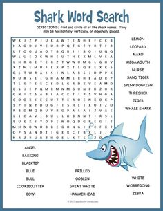 Your kids will enjoy looking for the 24 different sharks hidden in this fun word search worksheet. The words are hidden in all directions making this a challenging activity. Great for early finishers or just for something fun to take home and enjoy. Shark Activities, Shark Games, School Age Activities, Summer Activities, Shark Week Crafts, Shark Craft, All About Sharks, Sharks For Kids, Ocean Unit