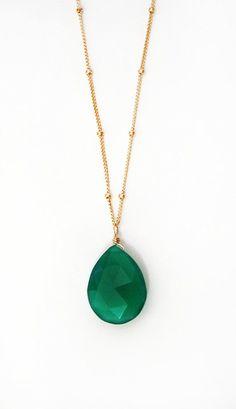 Emerald Green Onyx Drop Necklace