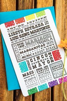 Cinco de Mayo Mexican fiesta wedding papel picado wedding invitation designed by The Goodness Taco Bar, Wedding Cards, Our Wedding, Wedding Ideas, Mexican Invitations, Invites, Mexican Party, Fiesta Party, Wedding Invitation Design