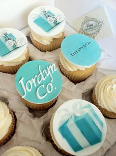 Just for you Josie Fondant Tiffany & Co. Tiffany Blue Party, Tiffany Birthday Party, Tiffany Theme, Cupcake Art, Cupcake Cookies, Cupcake Toppers, Pre Wedding Party, Bridal Shower Party, Tiffany Cupcakes