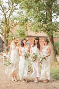 Whimsical Woodland Wedding Beautiful Bridesmaids With Stunning Florals Image By Sarah Gawler