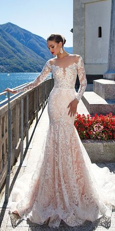 Milla Nova Backless Wedding Dresses With Long Sleeves Mermaid Sheer Plunging Neck Trumpet Bridal Gowns Sweep Train Tulle Lace Wedding Dress - Wedding Gowns Platform Perfect Wedding Dress, Dream Wedding Dresses, Bridal Dresses, Wedding Gowns, 2017 Wedding, Lace Wedding, 2017 Bridal, Mila Nova Wedding Dress, Peacock Wedding