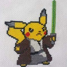 #crossstitch #crossstitchpattern #xstitch #embroidery #needle #needlework #diy #artisan #craft #italianart #8bit #8bitart #pixel #pixelart #pikachu #pokemon #starwars #yoda #jedi #lasersaber #crossover #fanart