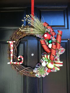 Christmas Wreath with Monogram by CourtneysSewCrafty on Etsy, $75.00