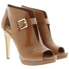Michael Kors Isabella Bootie Leather Luggage in cognac, Boots &... ($220) ❤ liked on Polyvore featuring shoes, boots, ankle booties, brown, ankle boots, leather boots, leather booties, cut-out ankle boots and cut out booties