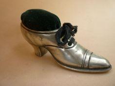 Antique Silver Plated Shoe Pin Cushion Original