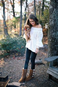 Fall outfit and style with white sweater