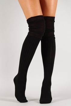 Solid Knit Thigh High Socks