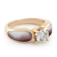 """Lustrous Rose - Radiance"" Tier 5 Diamond Pink Mother of Pearl Rose Gold Engagement Ring - The Alchemy Bench"