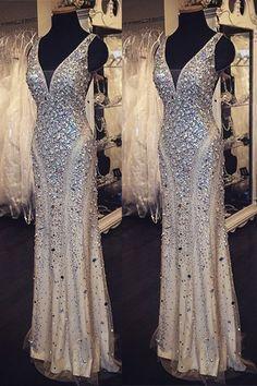 Elegant Sheath V-neck Floor Length Satin Prom Dress With Rhinestones