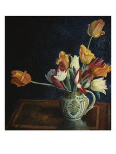 Tulips in a Staffordshire Jug by Dora Carrington on Curiator, the world's biggest collaborative art collection. Dora Carrington, Flower Vases, Flower Art, Art Flowers, Bloomsbury Group, Canvas Prints, Art Prints, Hereford, Female Art