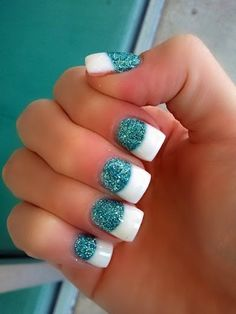 Turquoise opaque glitter in large half moon fills with wide band optic white tips