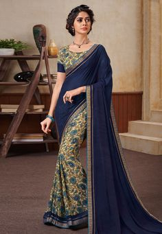 Buy Navy Blue Georgette Half and Half Saree 154463 with blouse online at lowest price from vast collection of sarees at Indianclothstore.com.