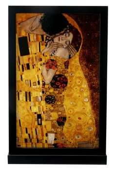 "GUSTAV KLIMT ""THE KISS"" STAINED GLASS ART WINDOW PANEL HANGING DISPLAY with STAND"