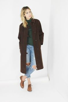 vtg 70s SUEDE duster coat chocolate brown suede coat minimalist maxi leather duffel coat long duster os large lrg l by RedLuckVintage (89.00 USD) http://ift.tt/1GCr8In Etsy chic sartorial 70s suede suede coat maxi duster minimalist maxi long duster brown suede