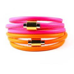 Liza Schwartz Jewelry Neon Flash Wrap Leather Bracelet (73 CAD) ❤ liked on Polyvore featuring jewelry, bracelets, two tone jewelry, leather bangle, neon jewelry, leather jewelry and leather wrap bracelet