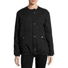 Etoile Isabel Marant Celia Puffer Bomber Jacket ($730) ❤ liked on Polyvore featuring outerwear, jackets, black, women's apparel coats, puffa jacket, blouson jacket, bomber puffer jacket, puffer jacket and zip front jacket