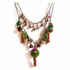 Persian Spring Charm Necklace with Copper Tassels, Mixed Dangles, Organza Ribbon Boho Chic Jewelry by weewanderer, $42.00