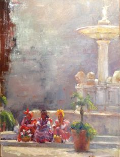 Nancie King Mertz The Three Graces, 24x18 oil, Old Havana