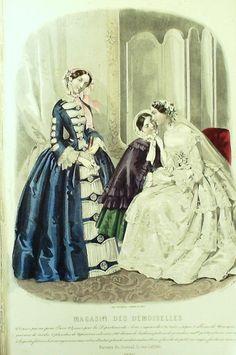 März 1853  ++++++++++  GRAVURE de MODE AUTHENTIQUE-X188-MAGASIN DEMOISELLES-ROBES DE CEREMONIE-1853