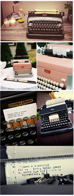 Vintage Guest Book Idea   Typewriter Guestbook   Thoughtfully Simple - invite guests to share words of wisdom for guest of honour