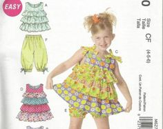 McCalls 6270  2011 Easy tiered sundress/  ruffled top, knee length gathered psnts. Have size (1-3) also comes in size (4-6)