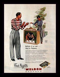 1947 First Nighter Pajamas Ad - Illustration - Wall Art - Home Decor - Mens - Retro Vintage Fashion Advertising Vintage Advertisements, Vintage Ads, Vintage Posters, Christmas Ad, Vintage Christmas, Fashion Advertising, Vintage Fashion, 1940s Fashion, Pajamas