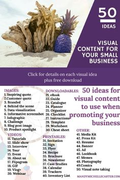 Visual content is an important part of a marketing strategy. This list will help small business stand out from the competition.  Click through for details on each visual content idea and a downloadable list.   Content Marketing Strategy | Social Media