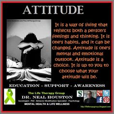ATTITUDE ~ Dr. Neal Houston, Sociologist (Behavior Modification Specialist) Education - Awareness / Mental Health - Life Wellness - ✔ Share ✔ Like ✔ Tag ✔ Comment✔ - Please feel free to share this post with anyone who is looking for a little direction in life.