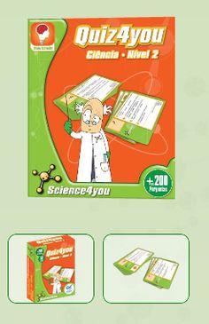 QUIZ4YOU - CIÊNCIA NÍVEL 2  Descobre:  Explora o mundo da ciência com o Quiz4you! - Responde às questões para conseguires as cinco partes do símbolo da Science4you. Descobre o que acontece quando aparecer uma das cartas especiais!  - São horas de diversão e aprendizagem com as mais de 200 perguntas do Quiz4you! - Aprende enquanto te divertes com os teus amigos e colegas, em casa ou na escola, com a Science4you!