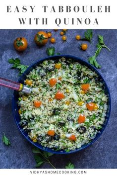 Vegan and gluten-free tabbouleh salad with quinoa – a refreshing salad with the flavors of parsley loaded with onions, cherry tomatoes, and olives. #quinoatabbouleh #veganquinoa #tabbouleh #glutenfree #healthy | vidhyashomecooking.com @srividhyam
