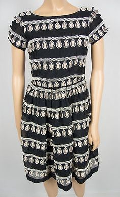 LEIFSDOTTIR Anthropologie Black Taupe Teardrop Dress 0 XS Embroidered Textured