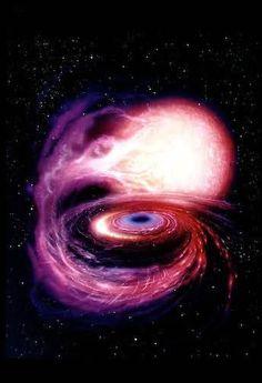 Um buraco negro engolindo um estrela , a cousa mais espetacular dessa vida que temos .....