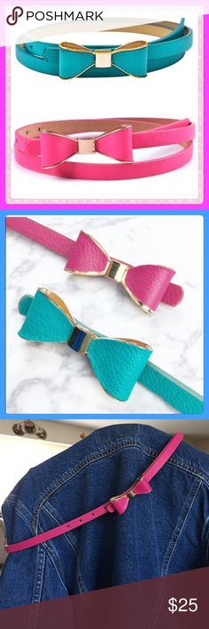 "Clearance Pink Vegan Leather Bow Belts! ✨NWT Pink Vegan Leather thin Bow Belts! These Belts Are Absolutely Adorable! This belt would be really cute with jeans or other attire! Add a little Flare to your Wardrobe! Bow is made from metal so will keep its shape. Measurements: 40"" from tip to tip. 7 Holes Ranging From 30""-35"" Only have 2 of these so get one while you can!✨ Accessories Belts"