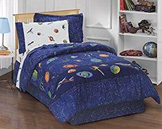 Amazon.com: Dream Factory Outer Space Satellites Boys Comforter Set, Blue, Twin: Home & Kitchen