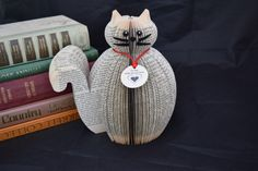 Cat Ornament - Personalised Book Art - pussy - kitty - kitten - handmade - personalised cat - personalised gift