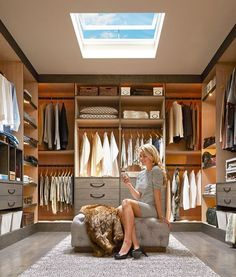 If your closet is large enough, give yourself a place to sit down to dress. A simple, attractive bench can make the space truly functional as a dressing room as well as a storage room. #WeDesignDreams
