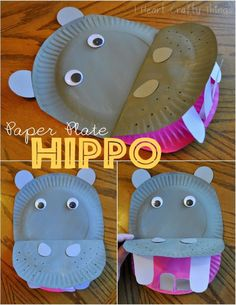 Fun paper plate hippopotamus craft for kids, paper plate crafts for kids, hippo kids craft, summer kids craft, zoo animal crafts and preschool crafts. Kids Crafts, Hippo Crafts, Jungle Crafts, Animal Crafts For Kids, Daycare Crafts, Toddler Crafts, Hobbies And Crafts, Art For Kids, Craft Projects