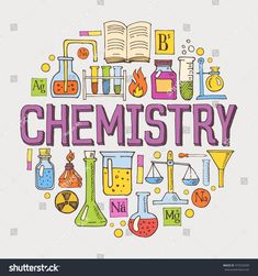 Chemistry hand drawn colorful vector illustration with doodle icons, chemical images and objects arranged in a circle. Chemistry Drawing, Chemistry Art, Teaching Chemistry, Chemistry Tattoo, Physical Chemistry, Organic Chemistry, Chemistry Quotes, Chemistry Posters, Chemistry Projects