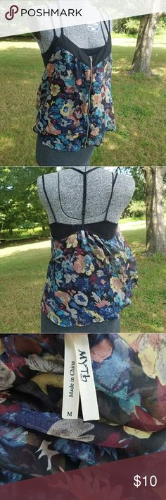 Sheer Flowy Zipper Top Cool see through top wiyh working zipper. GUC no flaws. Offers considered. No trades. Tops