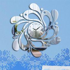 CLOCK in fabulous mirror effect new designWall Sticker Home decor, Living room,