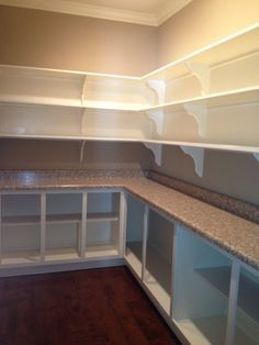 walk in pantry with an outlet and countertop. LOVE IT! I can leave ...